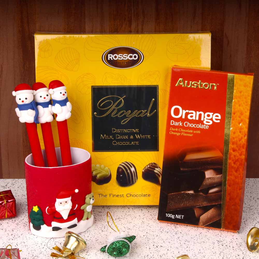 Santa Pen and Imported Chocolate Hamper