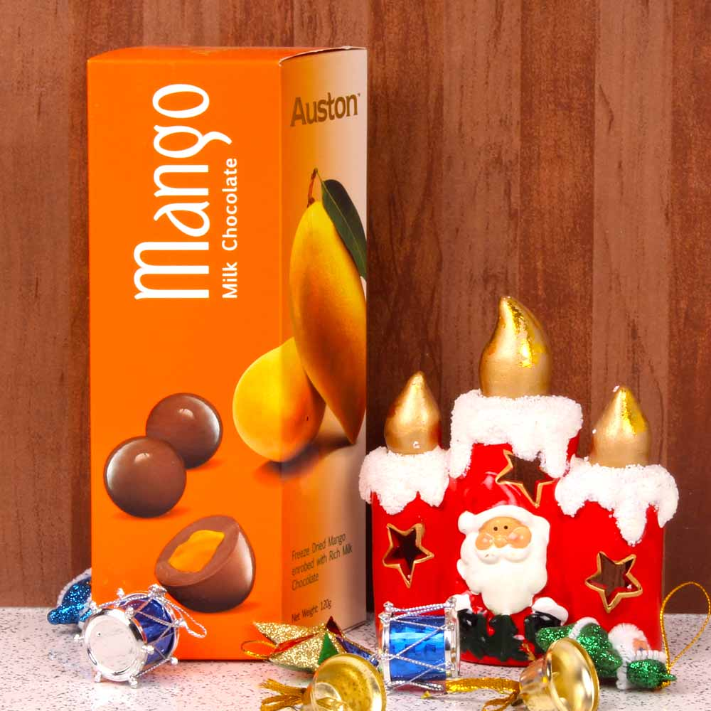 Exclusive Xmas Candle with Mango Milk Chocolate
