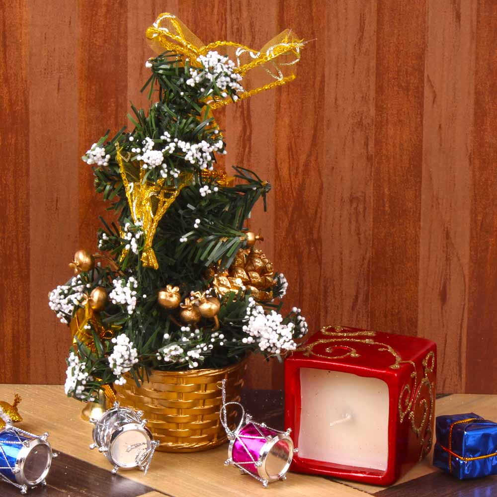 Decorated Christmas Tree with Attractive Square Candle