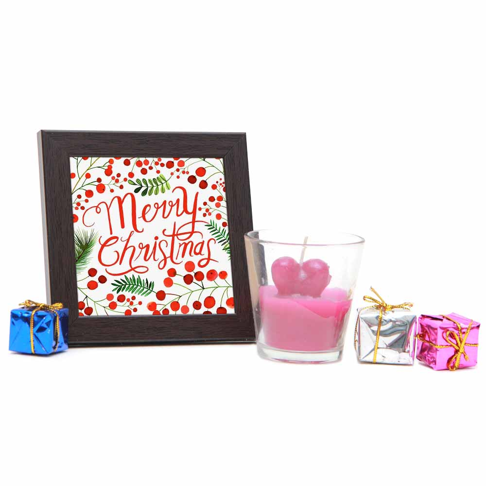 Photo Frame with Glass Heart Candle