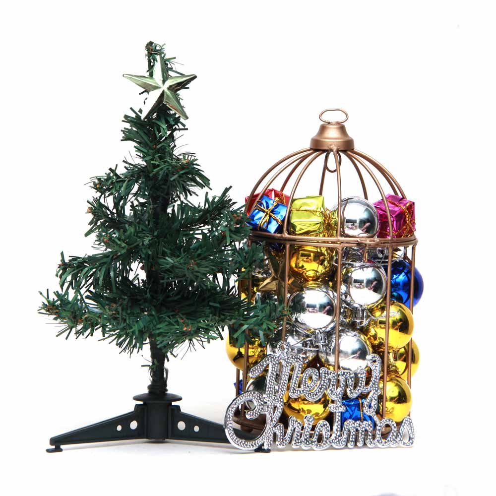 Christmas Tree and Shining Balls Filled Cage