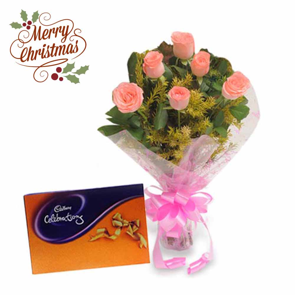Pink Roses N Chocolates-Christmas Gift