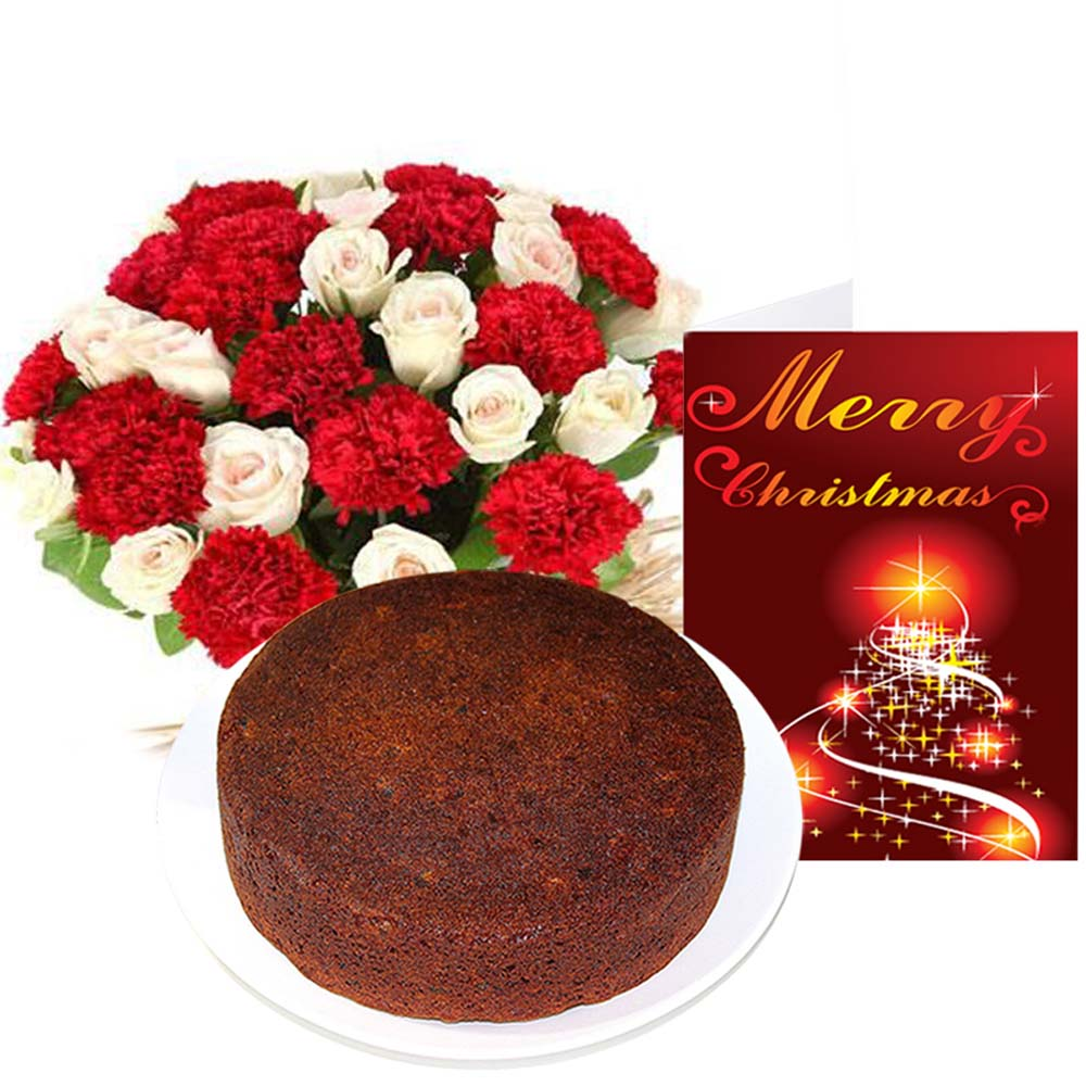Merry Christmas Card with Cake and Flowers Combo