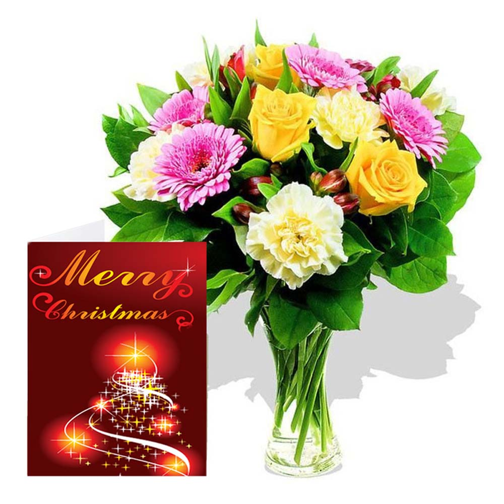 Christmas Card and Mix Flowers Bouquet for Christmas