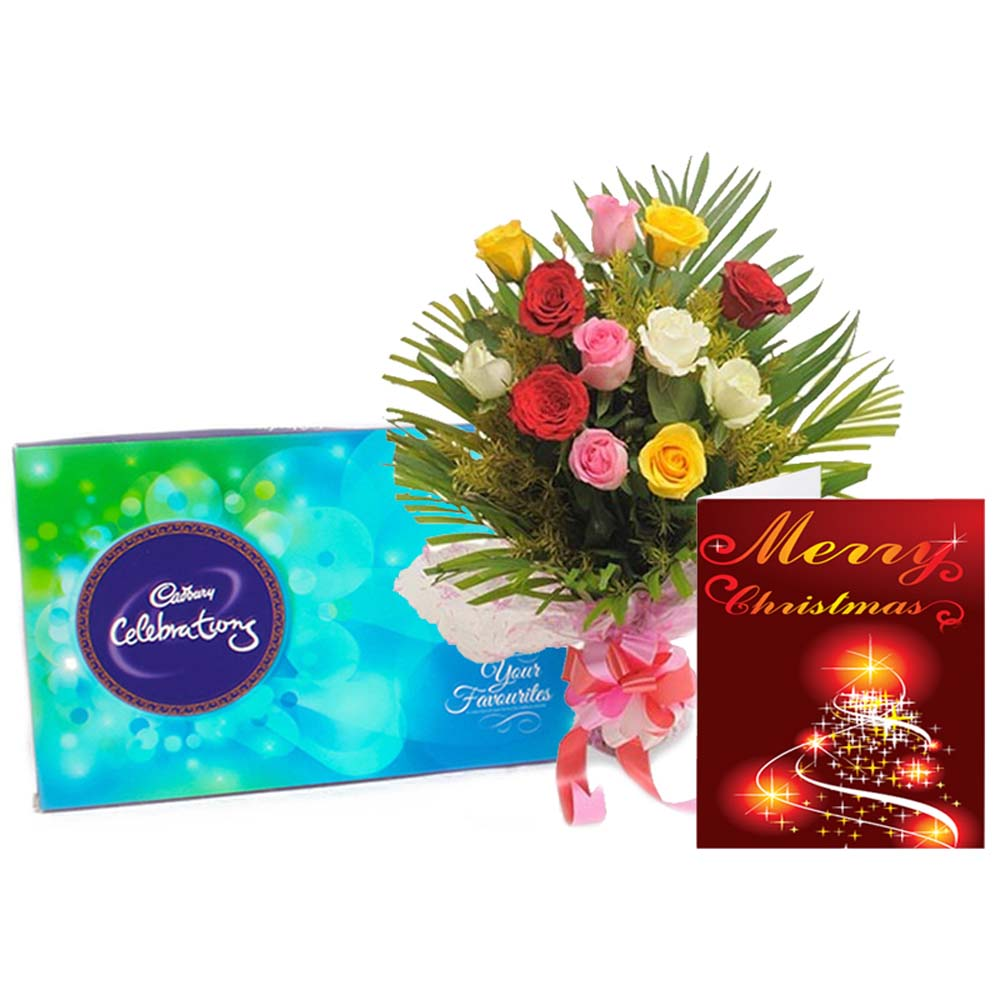 Roses Bouquet with Cadbury Celebration Chocolate and Chritmas Card