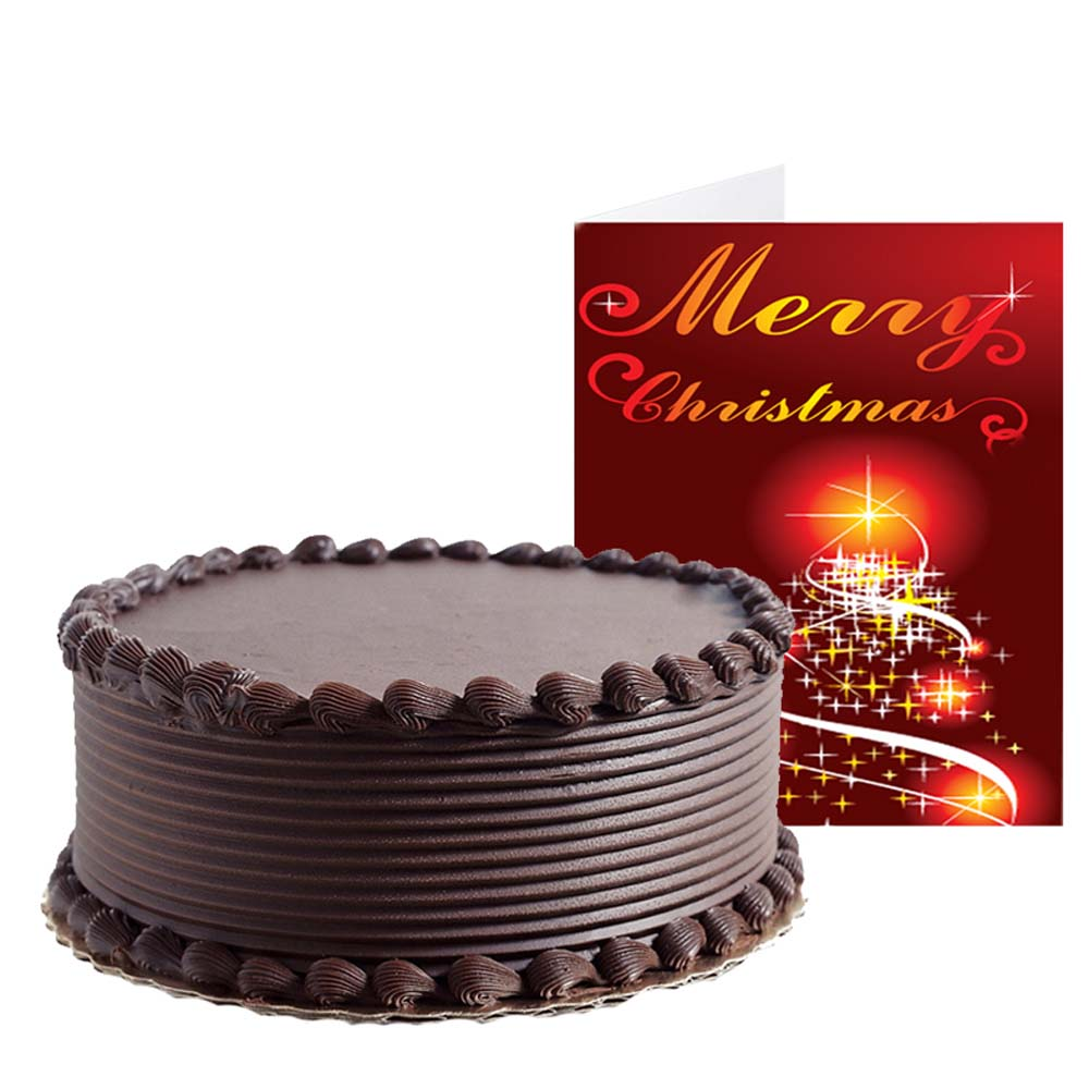 One Kg Chocolate Cake and Christmas Greeting Card