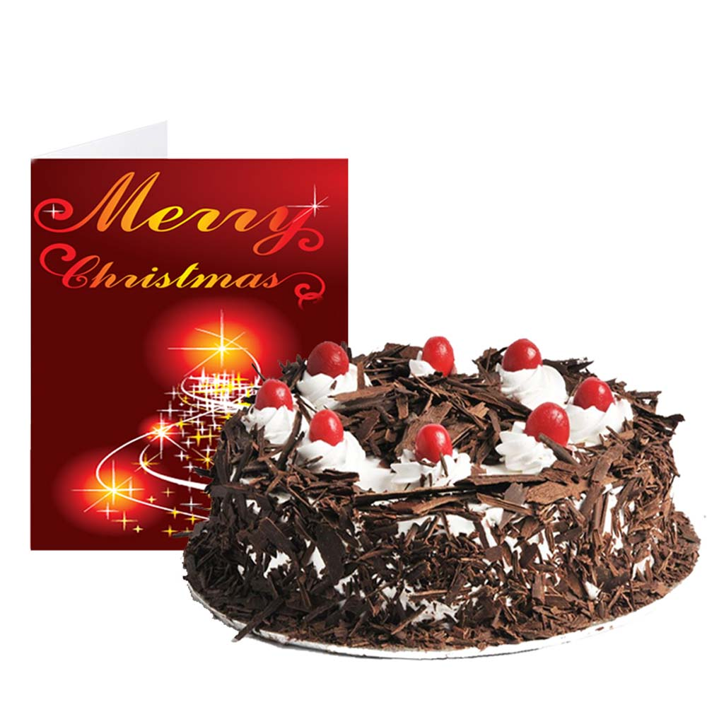 Black Forest Cake with Merry Christmas Greeting Card