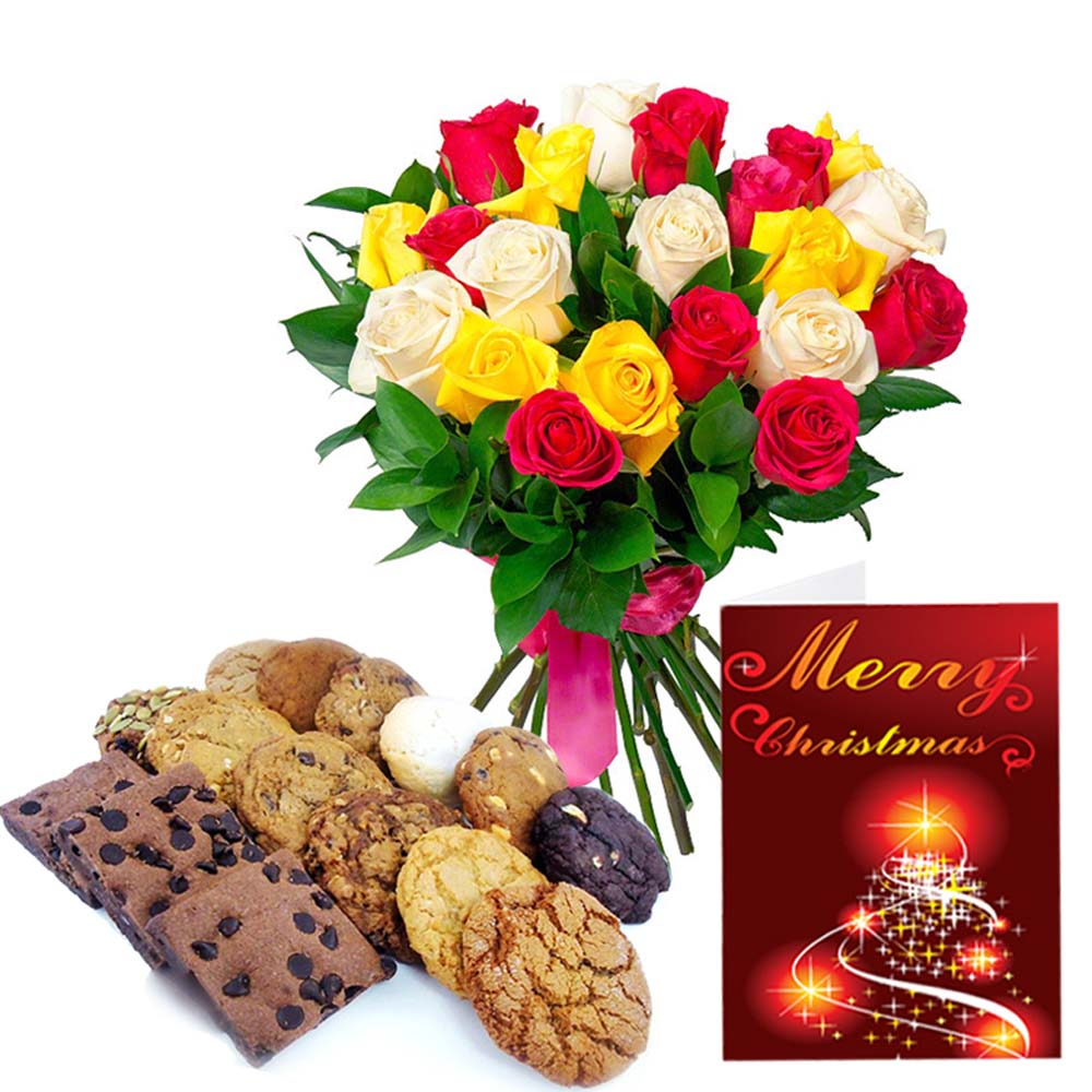 Assorted Cookies with Christmas Cardand Mix Roses Bouquet for Christmas
