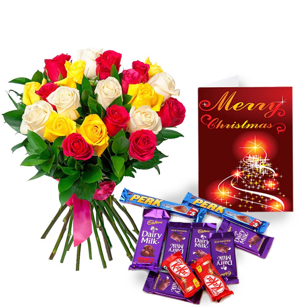 Indian Assorted Chocolate Hamper with Christmas Card and Mix Roses Bouquet