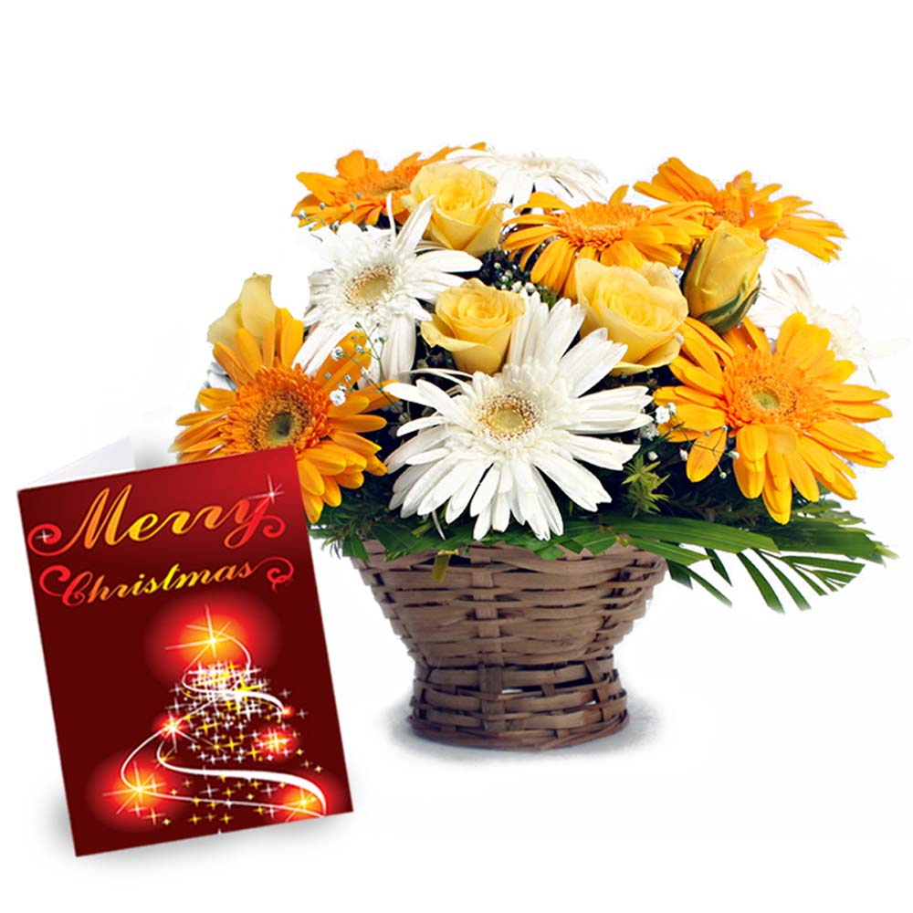Mix Flower Basket with Merry Christmas Greeting Card
