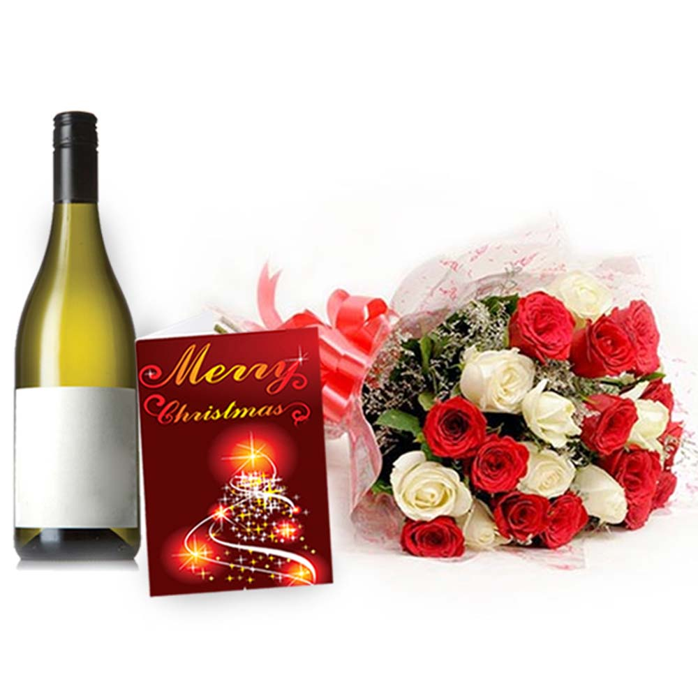 Mix Roses Bouquet with Indian Wine and Christmas Card