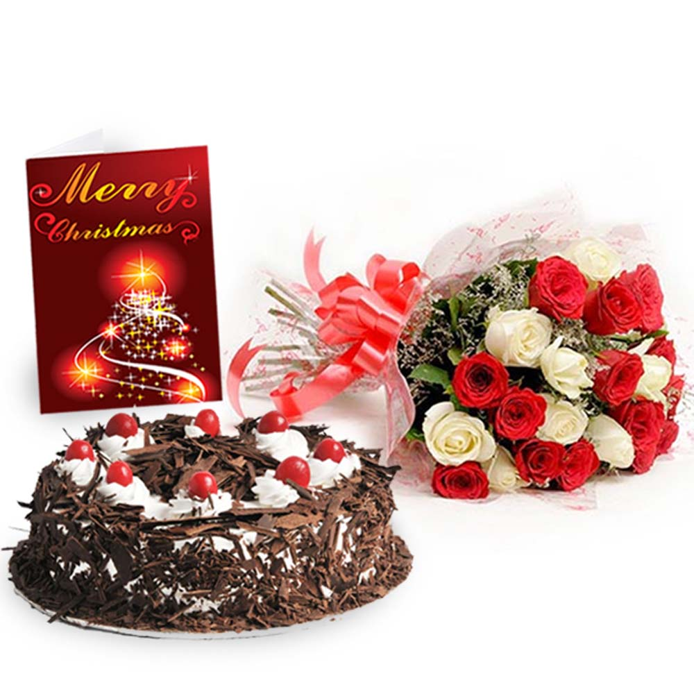 Roses Bouquet with Black Forest Cake and Christmas Greeting Card