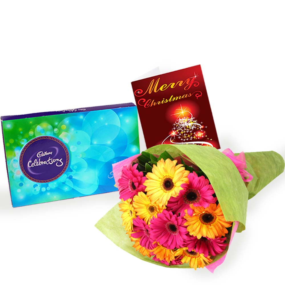 Mix Gerberas Bouquet with Cadbury Celebrations Chocolate and Christmas Card