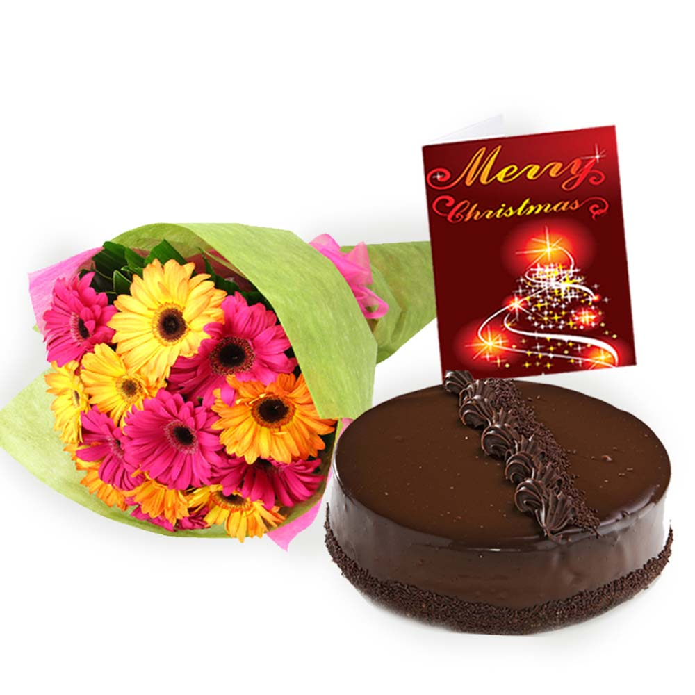 Chocolate Truffle Cake with Mix Gerberas Bouquet and Christmas Card