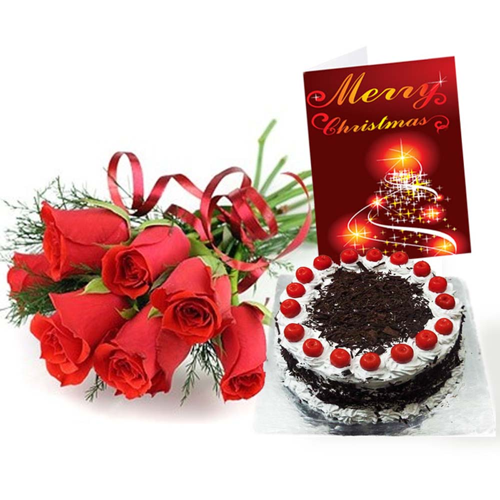 Red Roses Bouquet with Black Forest Cake and Christmas Card