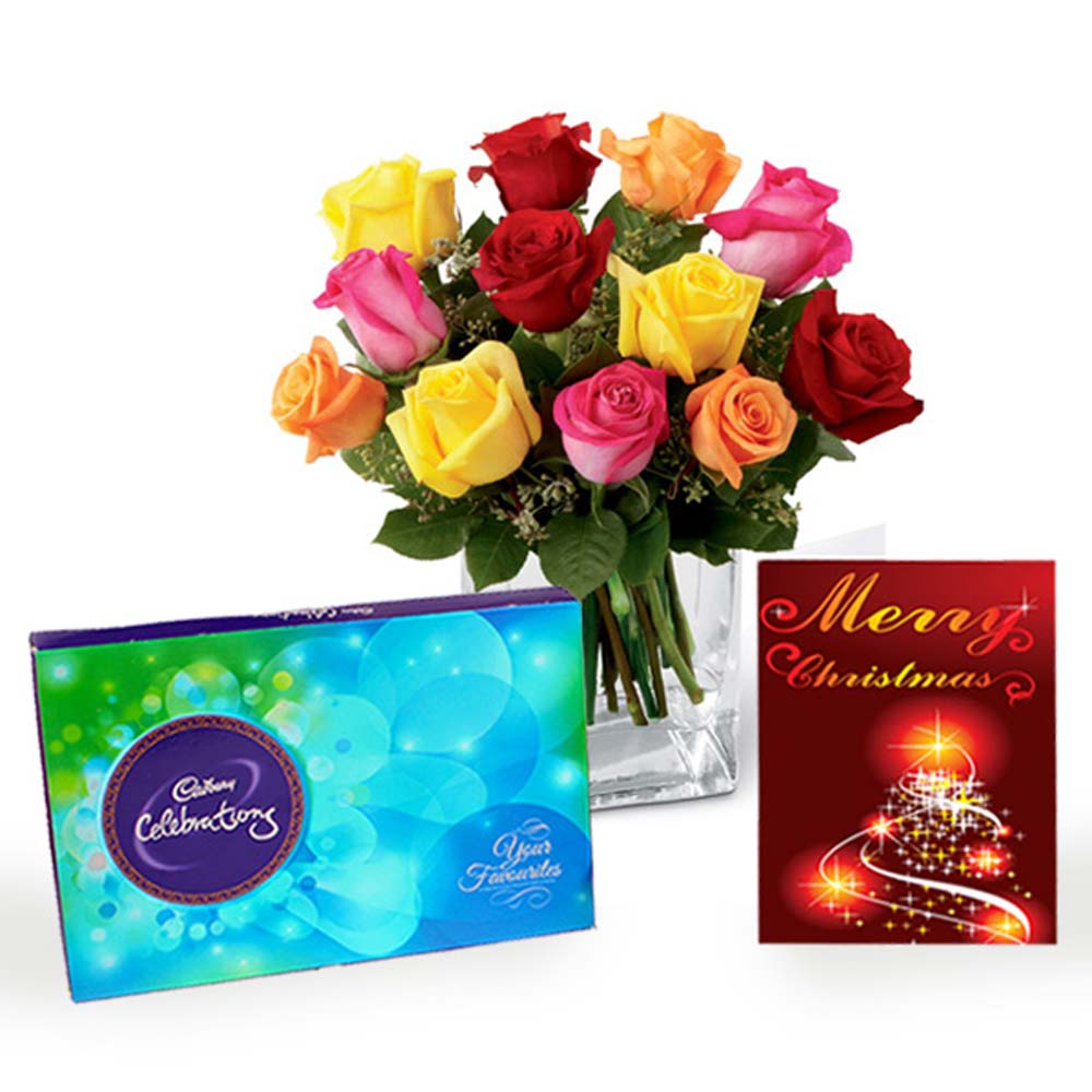 Mix Roses Vase Arrangement with Cadbury Celebration Chocolates and Christmas Card