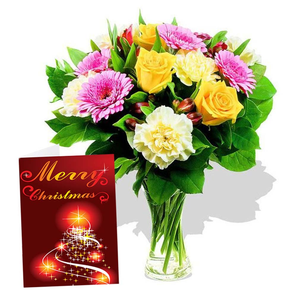 Mix Flowers Vase Arrangement with Merry Christmas Greeting Card