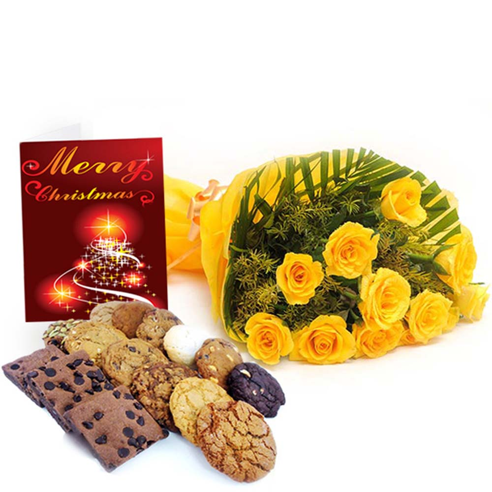 Yellow Roses Bouquet with Assorted Cookies and Christmas Card