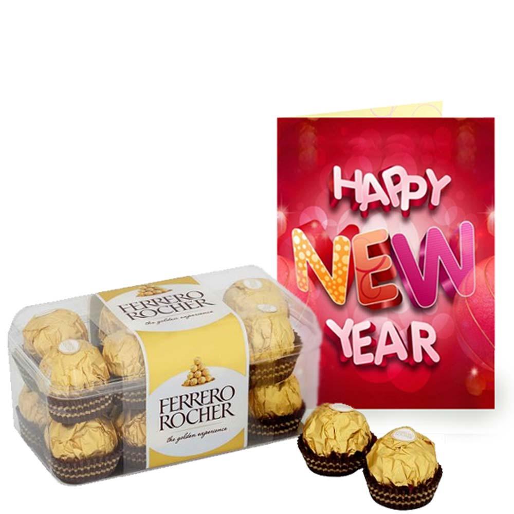 New Year Greeting Card and Ferrero Rocher Chocolate Box
