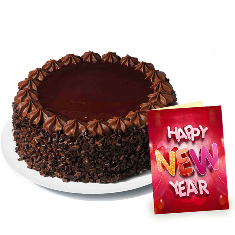 Eggless Chocolate Truffle Cake and New Year Greeting Card