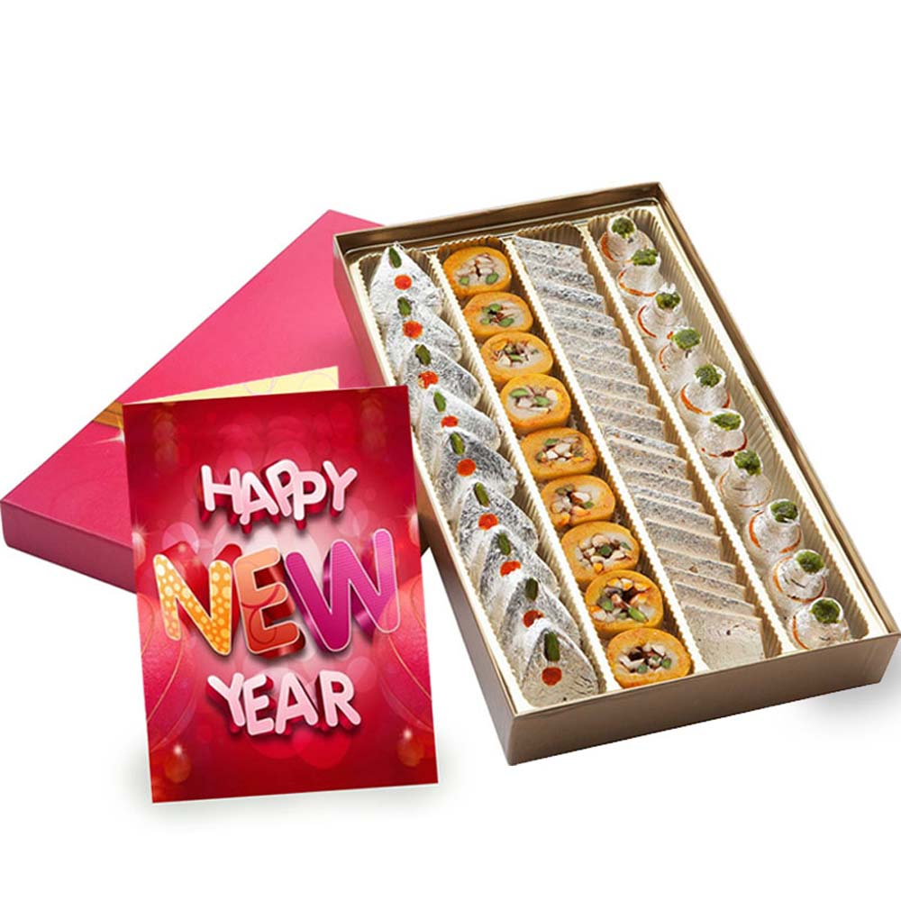 Assorted Kaju Sweet Box and New Year Greeting Card