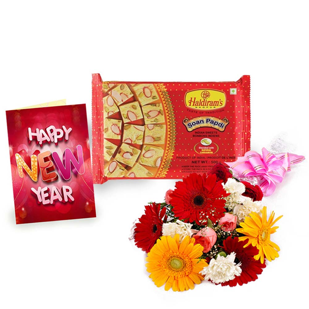 Soan Papdi Sweet Pack with Mix Flowers Bouquet and New Year Card