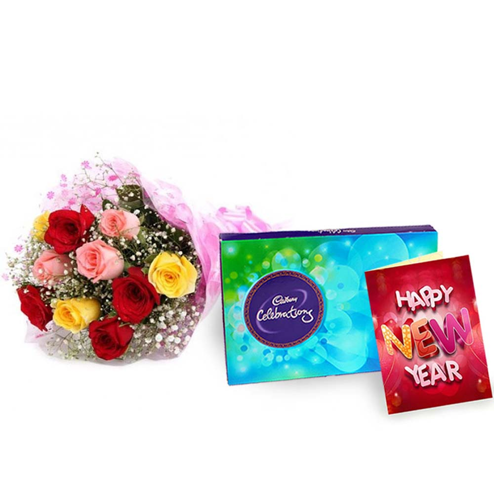 Cadbury Celebartion Chocolates with Mix Roses Bouquet and New Year Card