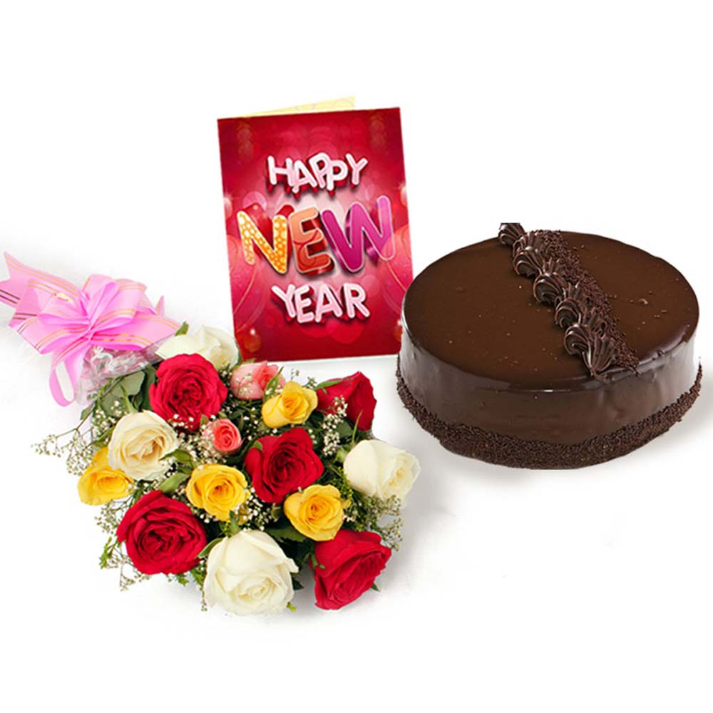 Truffle Cake with Mix Roses Bouquet and New Year Greeting Card