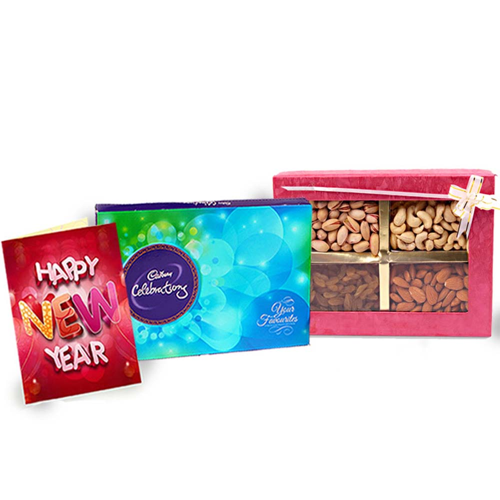 Assorted Dry Fruits with Cadbury Celebration Chocolate and New Year Card