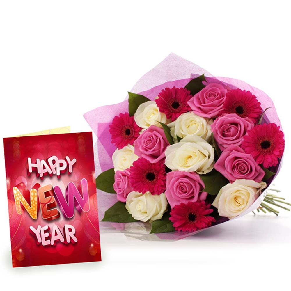 18 Mix Flowers Bunch with New Year Greeting Card
