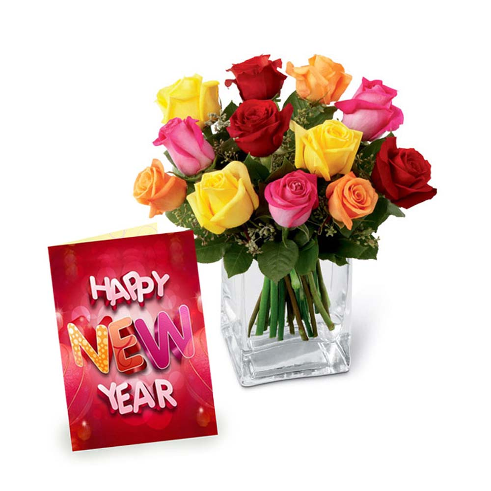 Mix Roses in Vase with New Year Greeting Card