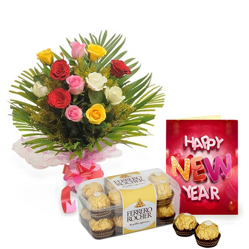 12 Mix Roses with Ferrero Rochers Chocolate and New Year Card