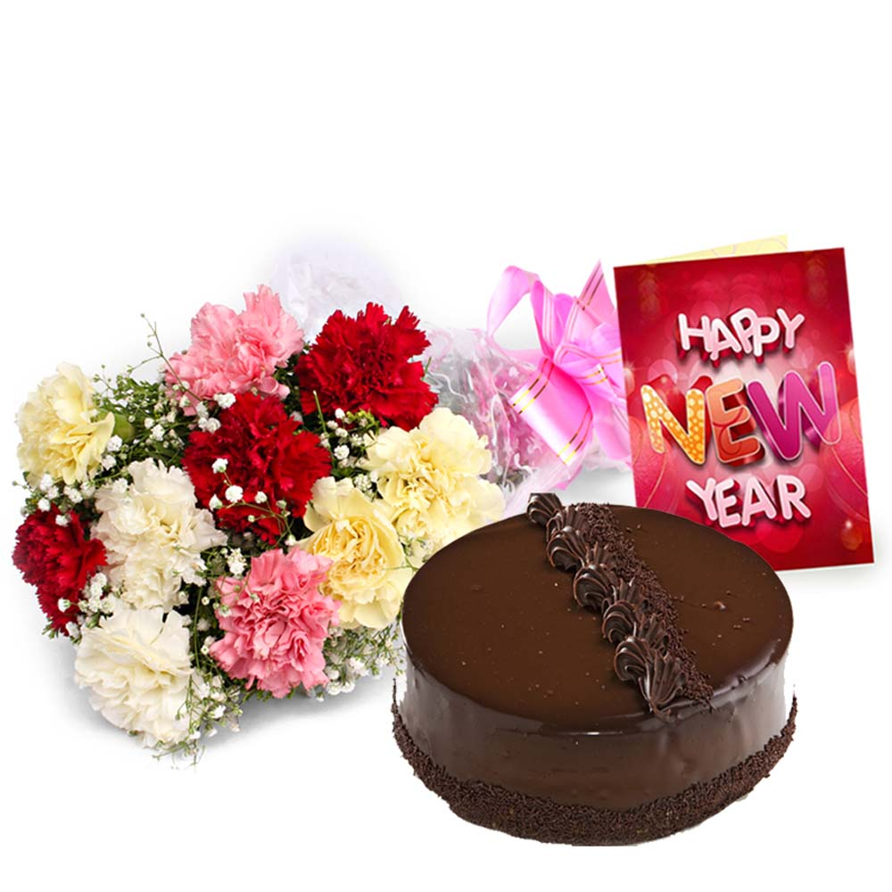 Carnation Bouquet with Truffle Chocolate Cake and New Year Card