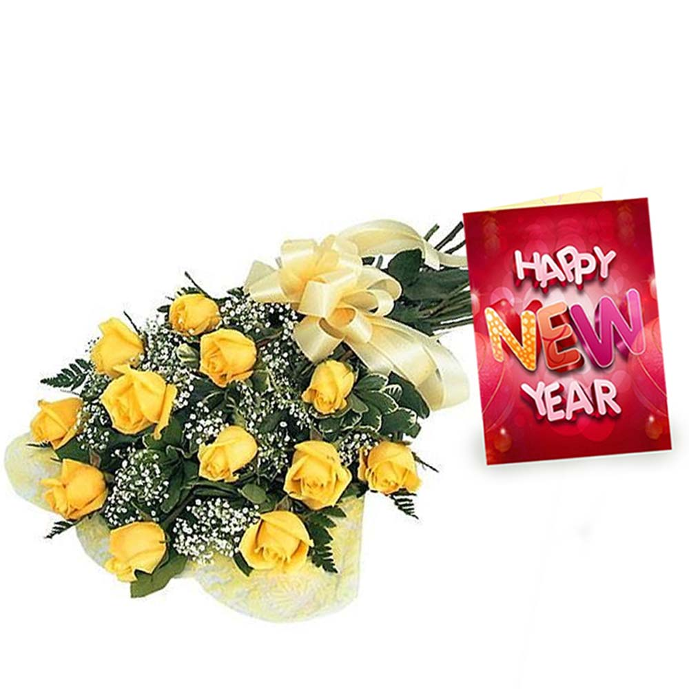 Yellow Roses Bouquet and New Year Greeting Card
