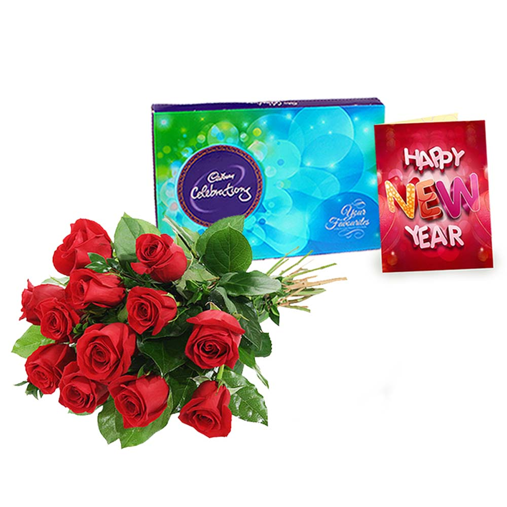 Red Roses Bouquet with Cadbury Celebration Chocolates and New Year Card