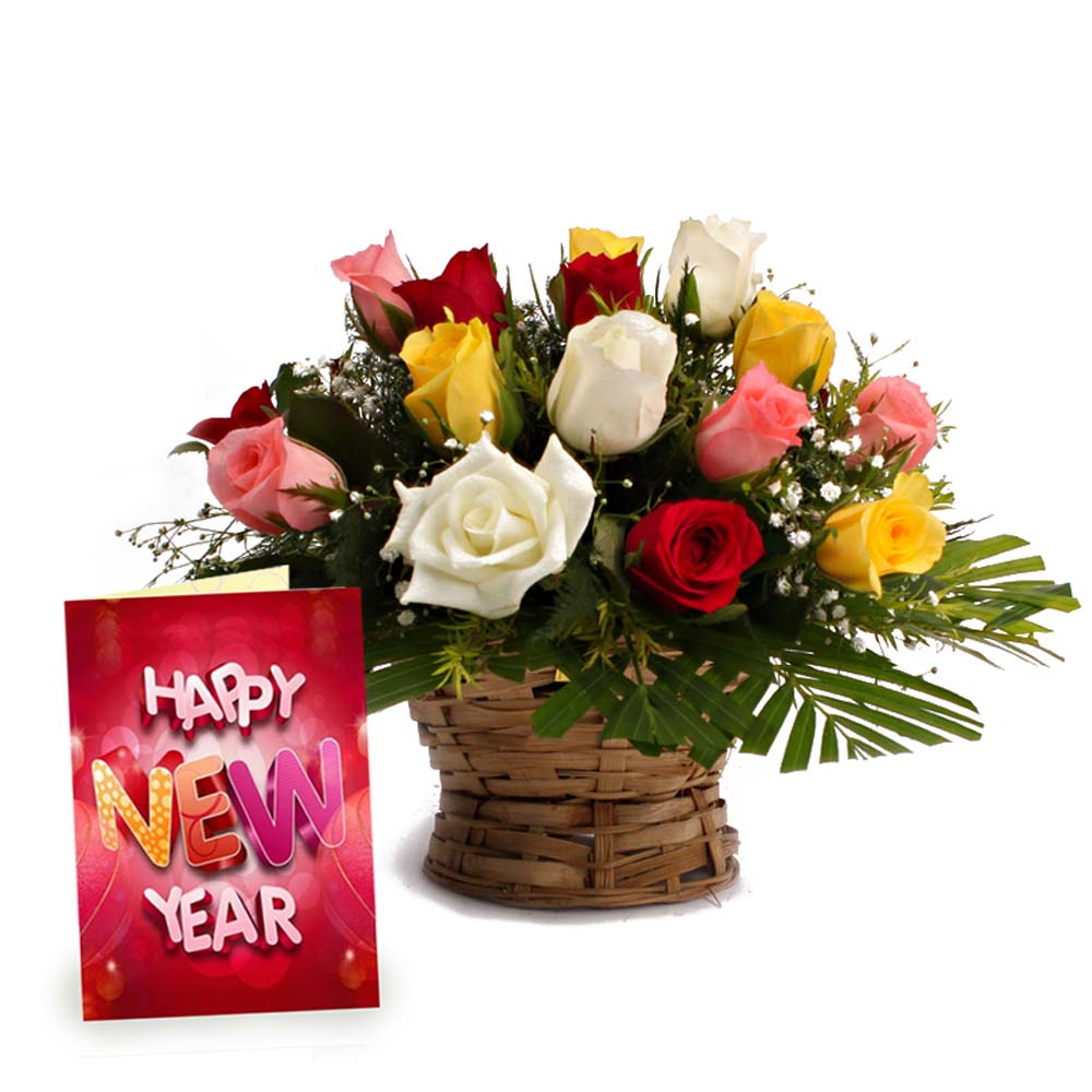 Roses Arrangement with New Year Greeting Card