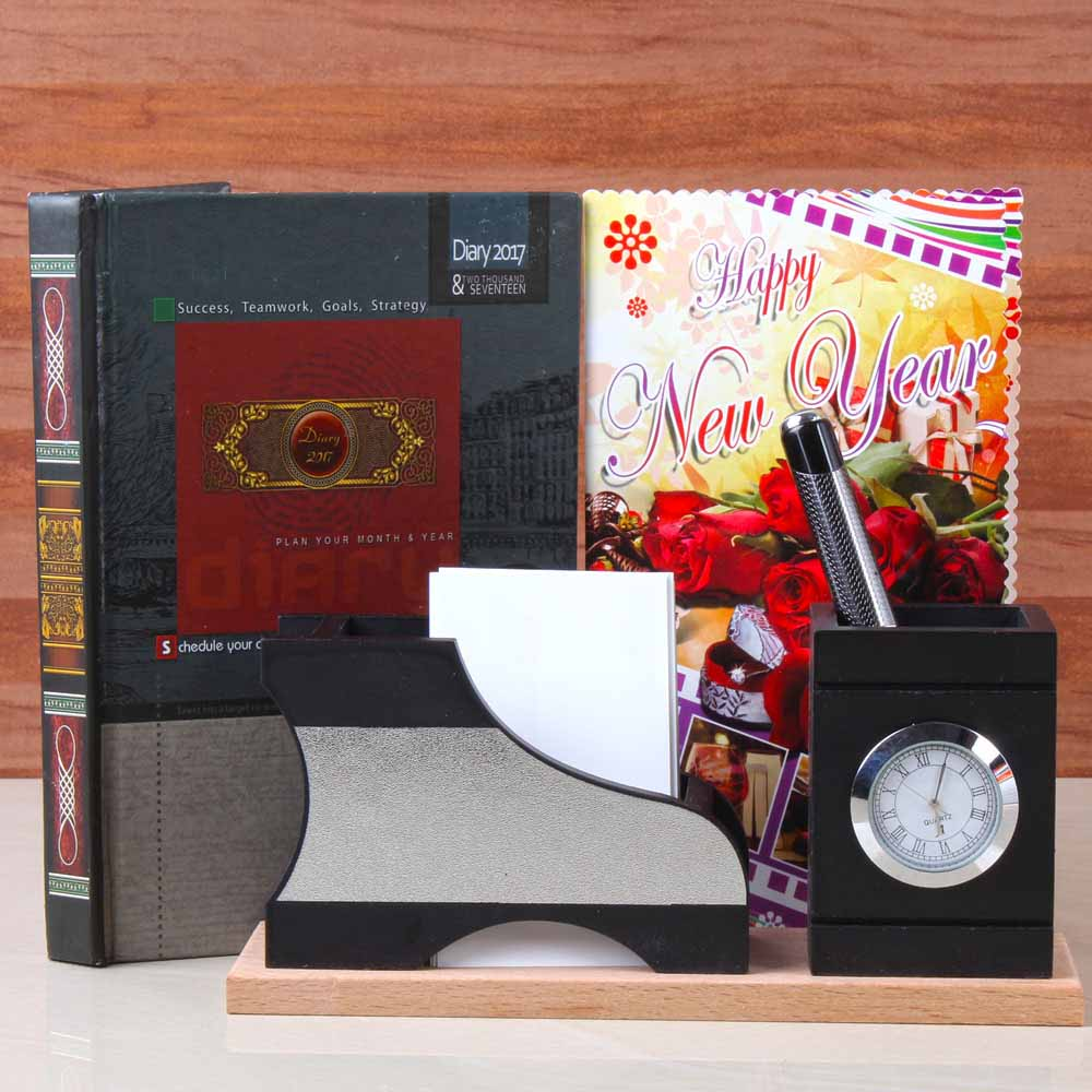 Diary Book and Watch with Pen Holder For New Year Gifting