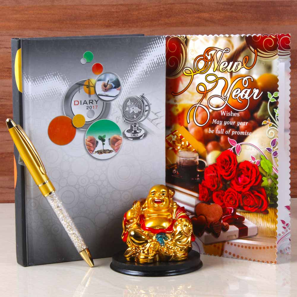Laughing Buddha with Dairy Book and Pen For New Year Gifting