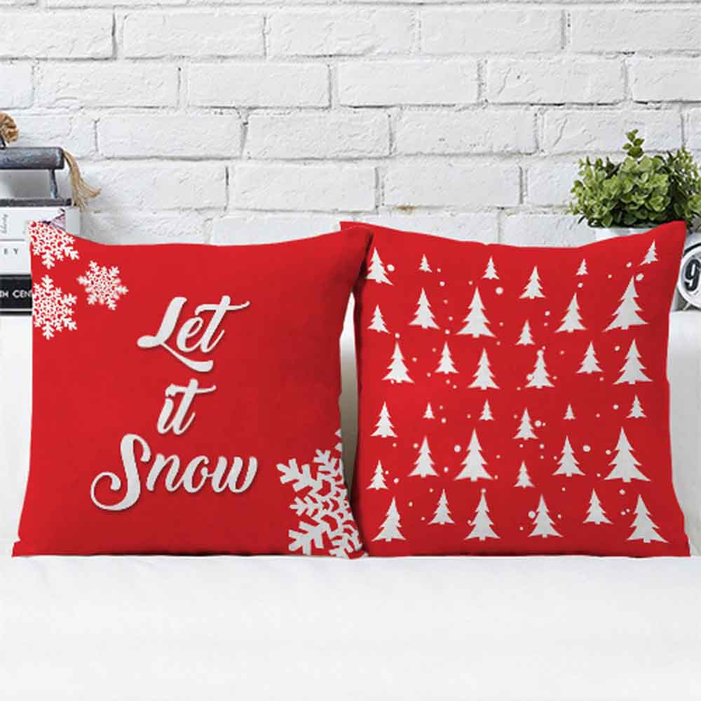 Christmas Decorations-Let It Snow Cushions Pair