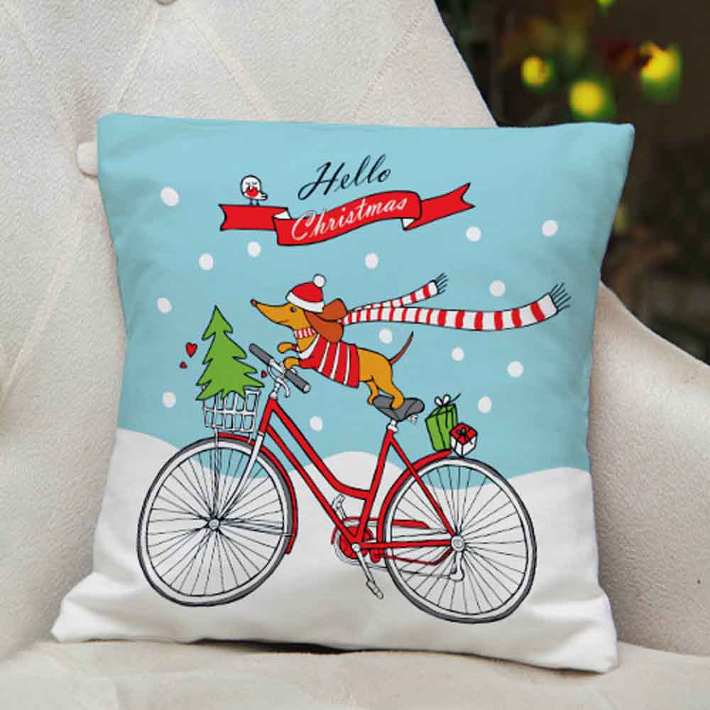 Hello Christmas Printed Cushion