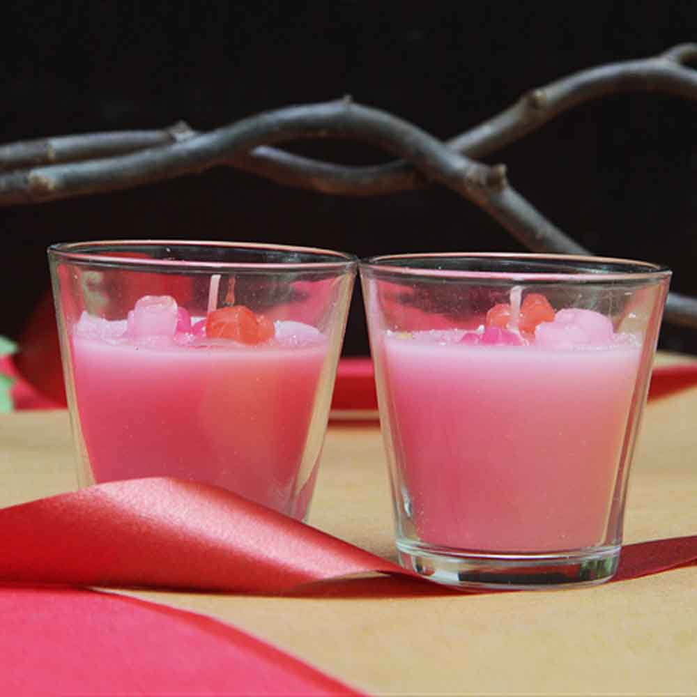 Christmas Decorations-Pink wax candles in jar (set of 2)