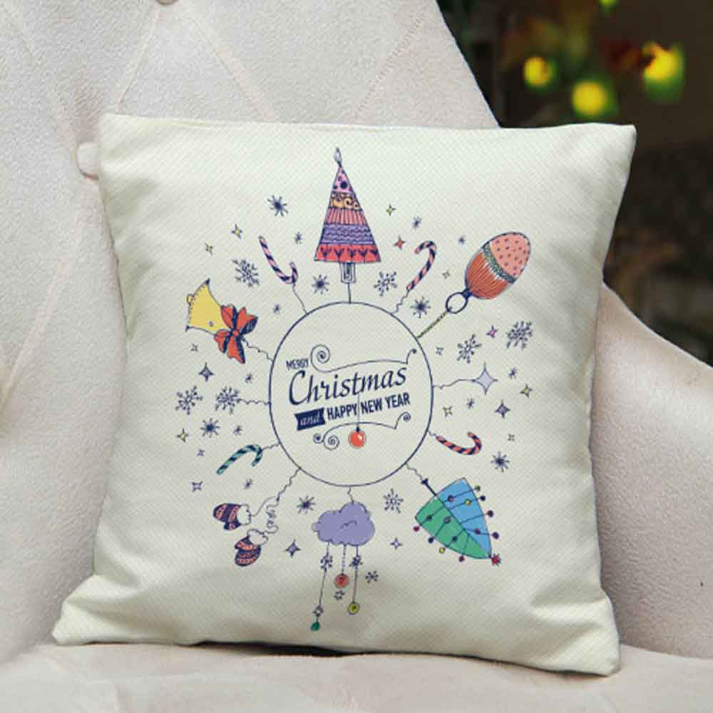 Christmas and New Year printed Cushion