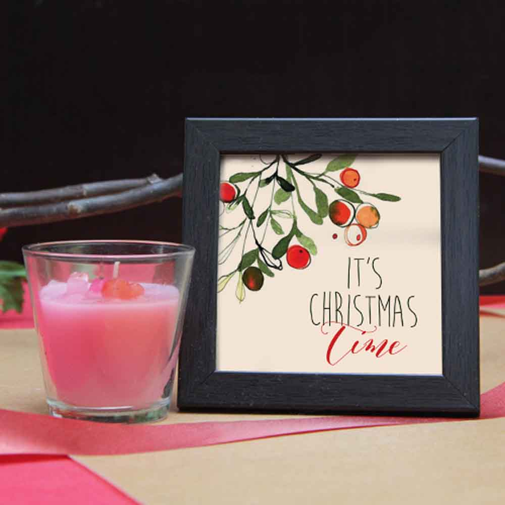Wooden frame with glass candle