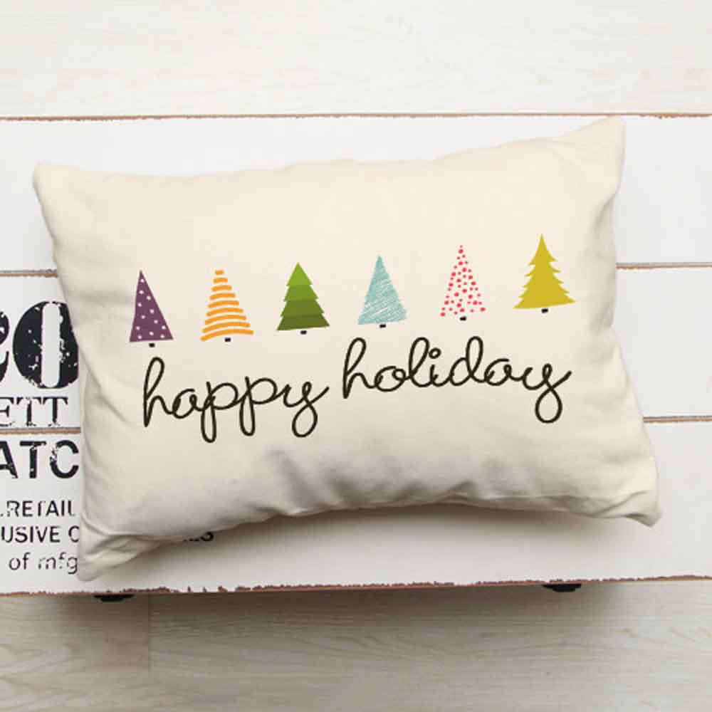 Christmas Decorations-Ivory White Pillow Happy Holiday