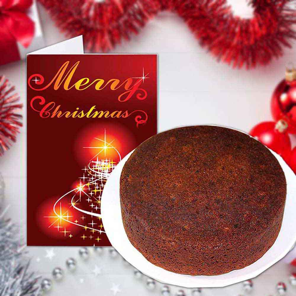 Merry Christmas Greeting Card and Plum Cake