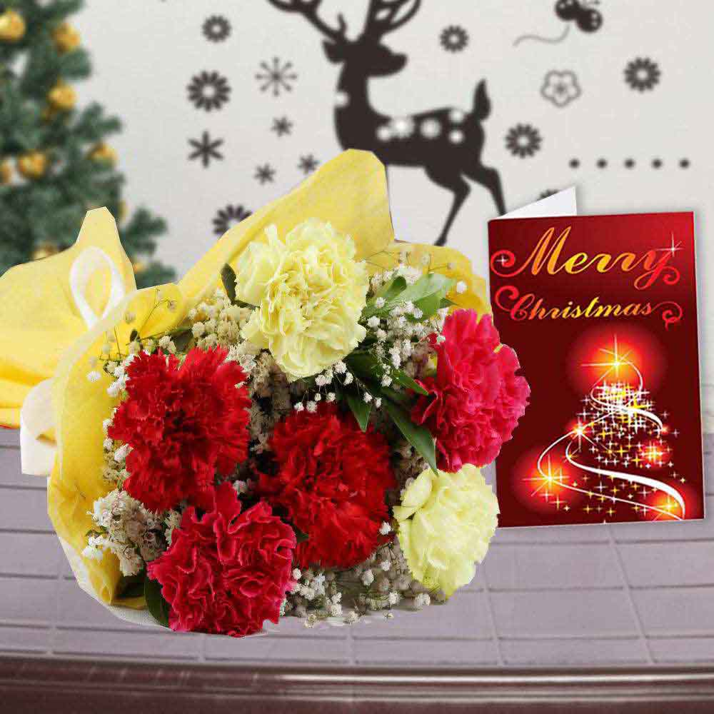 Fresh Flowers-Mix Carnation Bouquet with Greeting Card