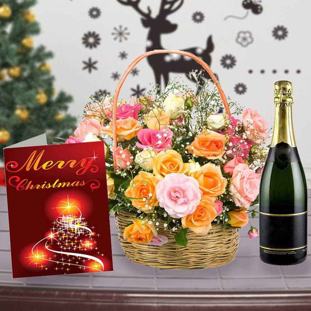 Floral Hampers-Roses Arrangement with Wine and Christmas Card Combo