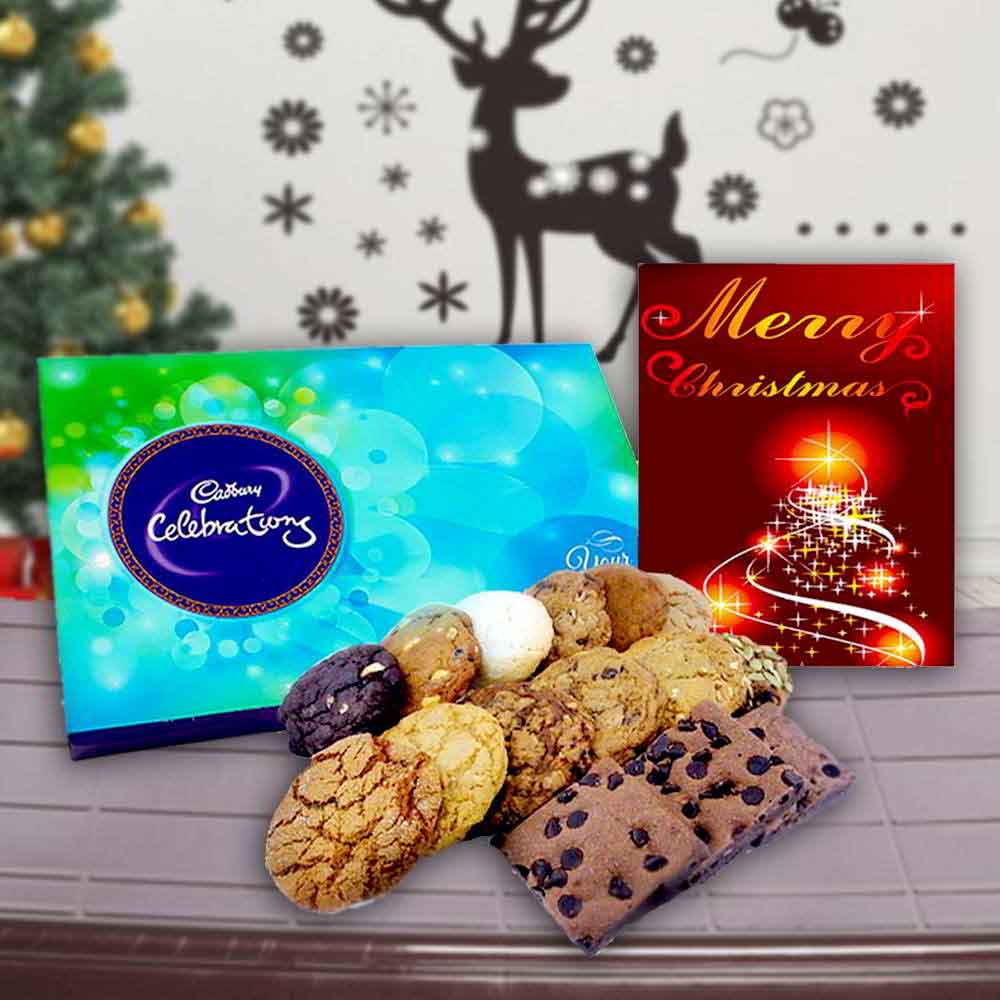 Cadbury Celebration Chocolates with Assorted Cookies and Card Combo