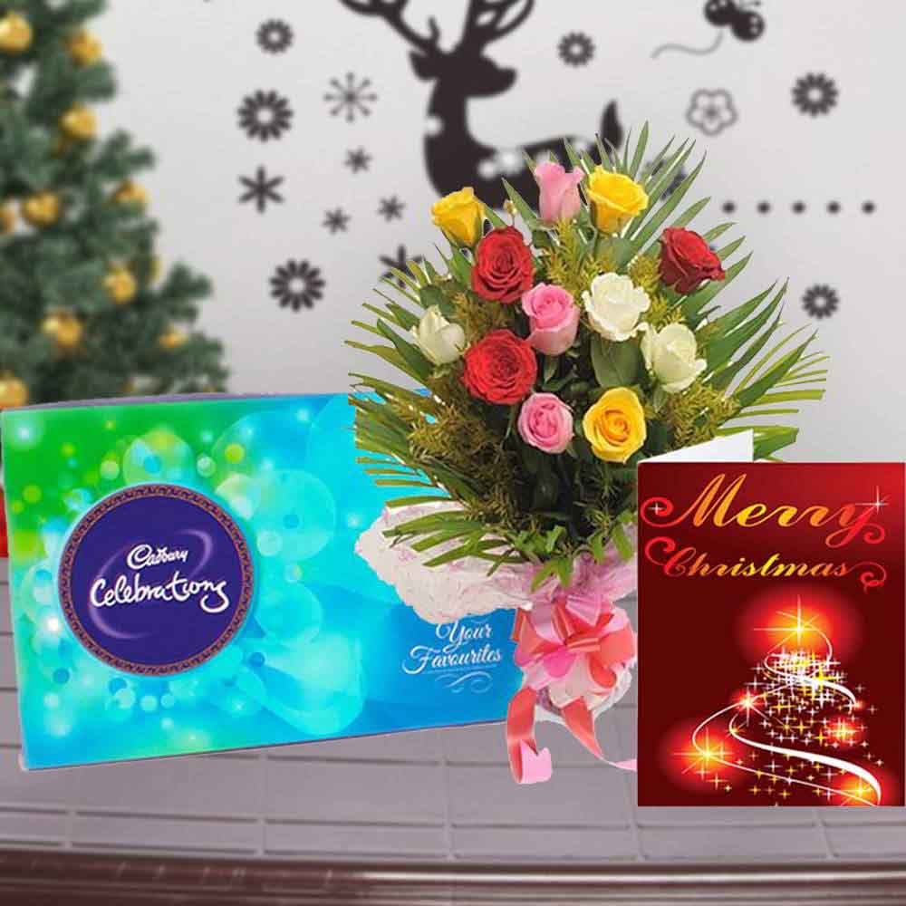 Chocolate & Flowers-Roses Bouquet with Cadbury Celebration Chocolate and Christmas Card