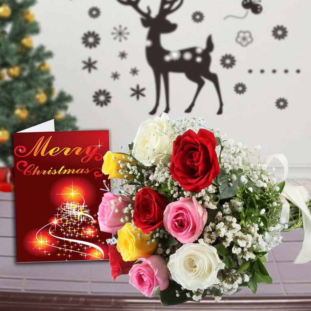 12 Mix Roses Bouquet and Merry Christmas Greeting Card
